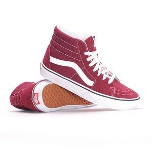   VANS   Women's Sk8 Hi Burgundy Skate Shoe